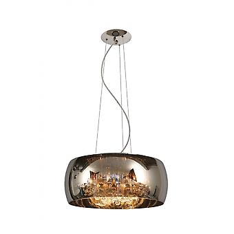 Luz colgante gris humo y Lucide perla redonda moderna de vidrio cromo