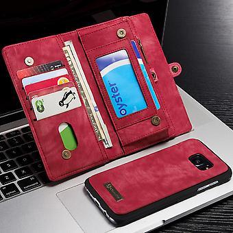 CASEME Samsung Galaxy S7 Edge retro lederen portemonnee Case-rood