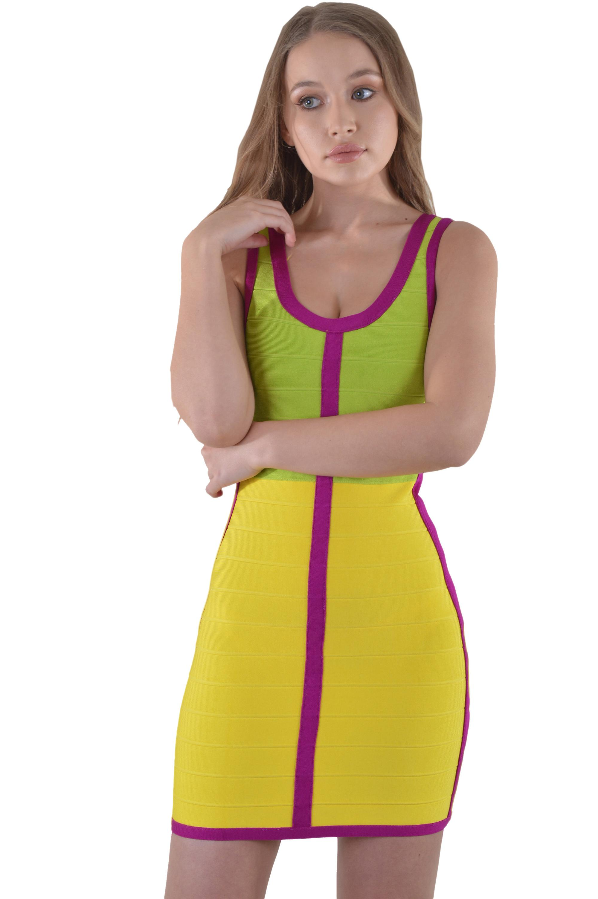 Lovemystyle Short Multicoloured Bandage Dress