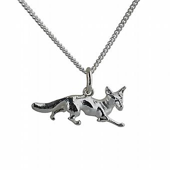 Silver 10x25mm Running Fox Pendant with a curb Chain 24 inches