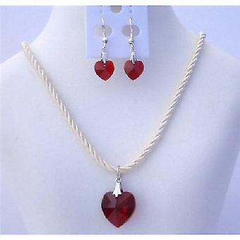 Crystals Heart Necklace Set of Swarovski Siam Red Heart 18mm Crystals