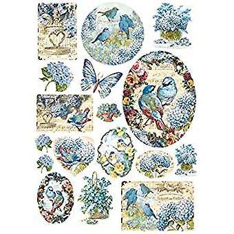 Stamperia Rice Paper A4 Blue Birds & Butterflies (DFSA4077)