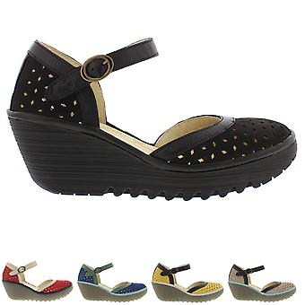 Womens Fly London Yven Cupido Mousse Leather Wedge Heel Ankle Strap Shoe