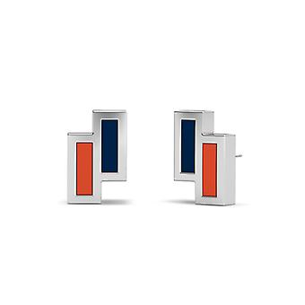 Houston Astros Sterling Silver Asymmetric Enamel Stud Earrings In Blue and Orange