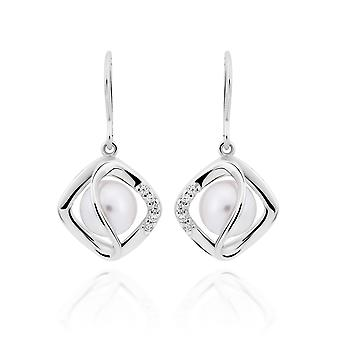 Orphelia 925 Silver Earring Diamond Shaped with Pearl and Zirconium