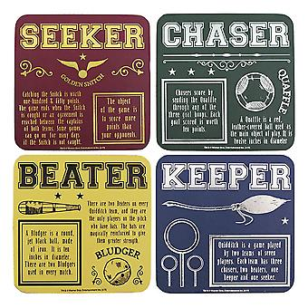 Harry Potter Coasters set 4-delige Zwerkbal coated, 100% kurk, in Snangle doos.