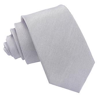 Srebrny zwykły Shantung Slim Krawat