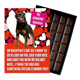 Novedad belga chocolate perro amante San Valentín día regalo Rottweiler tarjeta de felicitación