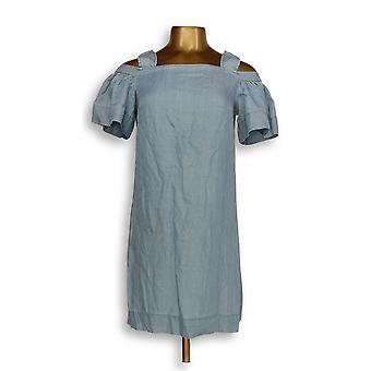 فينس كاموتو اللباس (XXS) كشكشة الباردة الكتف اللباس الأزرق A306718