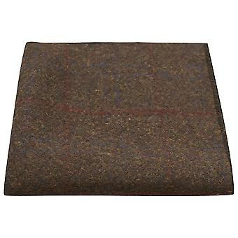 Heritage Check Earth Brown Pocket Square, Handkerchief