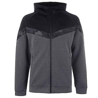 VOI Mens Logan hoodie alinhado hoody com capuz de algodão Top zip completo