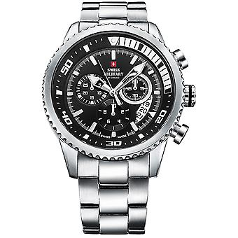 Swiss Military Swiss Quartz Analog Man Watch with SM34042.01 Stainless Steel Bracelet