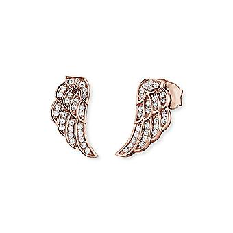 Engelsrufer wing earrings for women Rose Gold Plated Zirconia white silver 925-Sterling measures 11 mm (0.43')