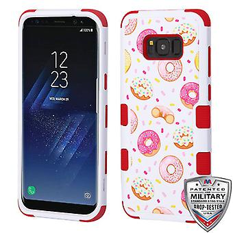 MYBAT Donuts/Red TUFF Hybrid Case [MilitaryGrade Certified] for Galaxy S8 Plus