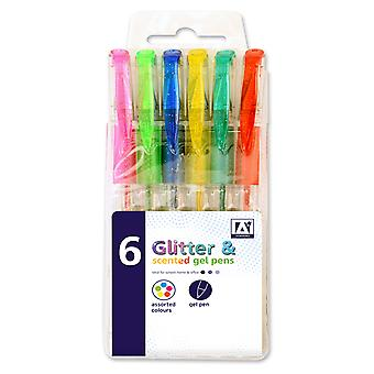 6 Glitter and Scented Gel Pens (Assorted Colours)