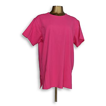 Denim & Co. Women's Top Jersey Round-Neck Elbow-Sleeve Pink A352975
