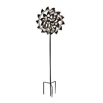 Antique Copper Finish Metal Art Dual Pinwheel Wind Spinner Garden Stake