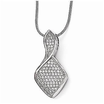 925 plata esterlina pave rodio rodio langosta garra cierre y CZ Circonión cúbica simulado diamante pulido cuello elegante