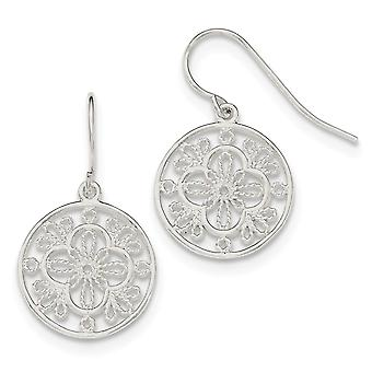 925 Sterling Silver Polished Fillagree Shepherd Hook Earrings