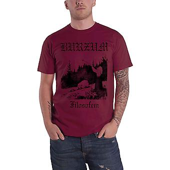 Burzum T Shirt Filosofem Album Lyrics Band Logo new Official Mens Maroon