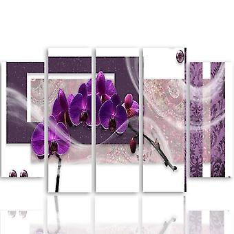 Five Part Picture On Canvas, Pentaptych, Type B, Purple Orchid
