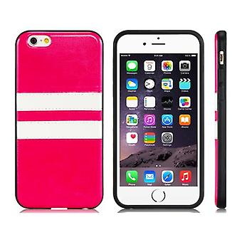 Iphone 6 / 6S 4.7 rubber stripes soft case shell red