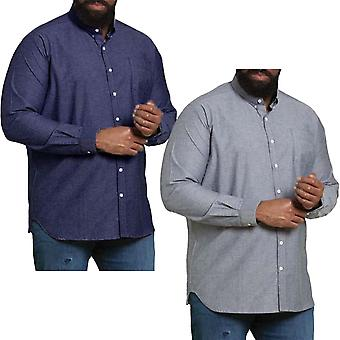 Duke D555 Mens Big Tall Kingsize Nebraska Long Sleeve Strech Collared Shirt