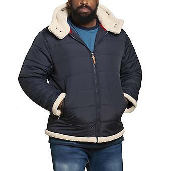 Duke D555 Hombres Grande Kingsize Hudson Sherpa forrado con capucha Puffer abrigo chaqueta
