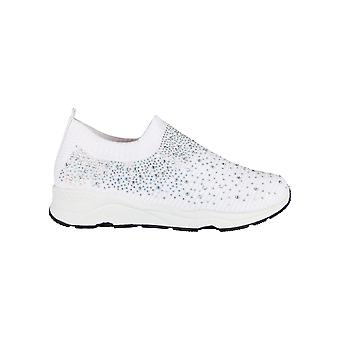Womens Diamante Glitter Slip On Sock Trainers Sneakers Ladies Sparkle Shoes Size