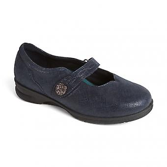 Padders Kay Ladies Leather Super Wide (4e/6e) Mary Jane Shoes Navy Print