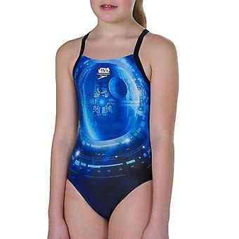 Speedo Girls Star Wars allover egy darab úszás jelmez fürdőruha fekete/kék