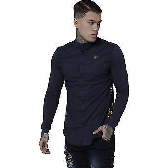 Sik Silk Royal Venetian Muscle Fit Grandad Long Sleeve Shirt Navy 04