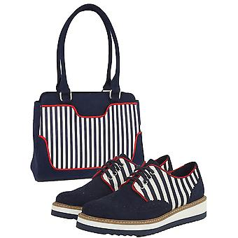 Ruby Shoo Women's Davina Lace Up Loafer Shoes & Matching Tunis Bag