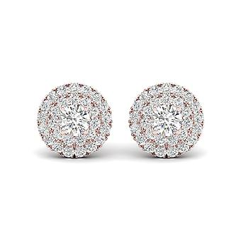Igi certified 0.75 ct natural diamond double halo stud earrings in 10k rose gold