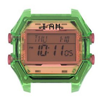 Watch I Am The Watch IAM-007 - Green Translucent Glass and Pink Buttons / Horn 18 mm Set