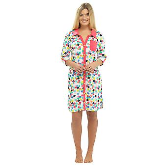 Ladies Floral Spotted Tropical Print Shirt Style Nightdress Nighty Sleepwear
