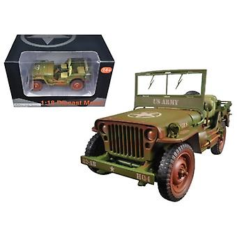 US Army WWII Jeep Vehicle Green Weathered Version 1/18 Diecast Modellauto von American Diorama