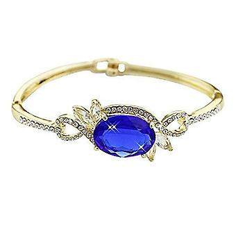 Gold Plated Women's Bracelet Bangle studded with Blue Crystal