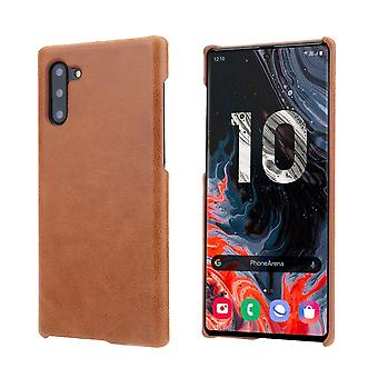 Pour Samsung Galaxy Note 10 Case Brown Elegant Genuine Leather Back Cover