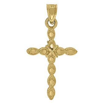 10k זהב צהוב Mens נשים מרקם צלב דתי תליון קסם שרשרת מידות 27.1 x 14.10 mm תכשיטים רחבים מתנות ל
