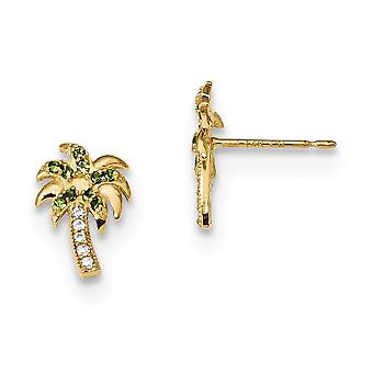 7.6mm 14k Madi K Green and Clear CZ Cubic Zirconia Simulated Diamond Palm Tree Post Earrings Jewelry Gifts for Women