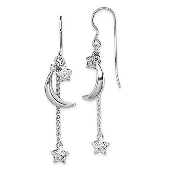 925 Sterling Silver Rhodium Plated Sparkle Cut Puff Stars and Celestial Moons Earrings Jewelry Gifts for Women