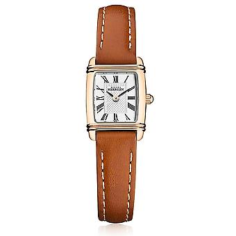 Michel Herbelin 17438-PR08GO Women's Mini Art Deco Brown Strap Wristwatch