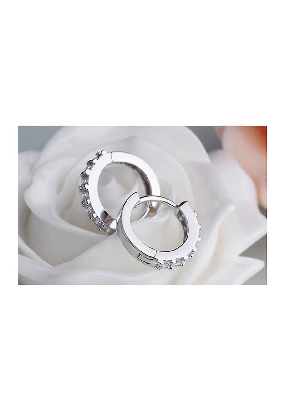 Crystals Huggie Hoop Earrings - Silver