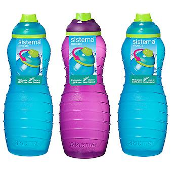 3 Sistema 700ml Twist n Sip Drink Bottles, Blue and Purple