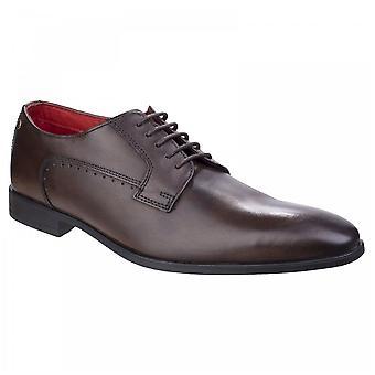 בסיס לונדון Mens פרוטה שטוף חום שטוף עור חכם נעליים