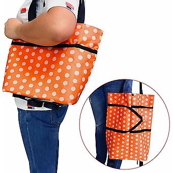Smart Foldable Shopping Bag on Wheels Orange White