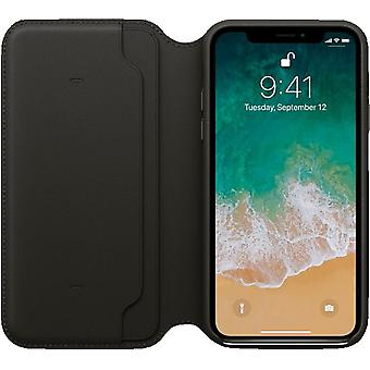 Originele Packed MQRV2ZM/A Apple iPhone X Folio Echte lederen Flip Case Cover - Zwart