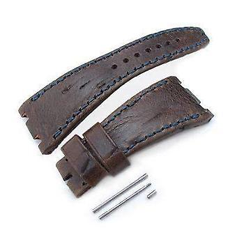 Strapcode leather watch strap scratch brown pattern dark navy wax thread , custom made for audemars piguet royal oak offshore