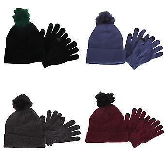 Foxbury Womens/Ladies Touchscreen Winter Gloves And Pom Pom Hat Set